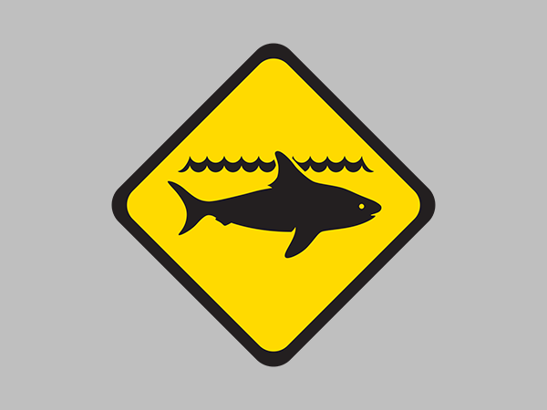 Shark WARNING for Centaur Reef, north west of Trigg Island